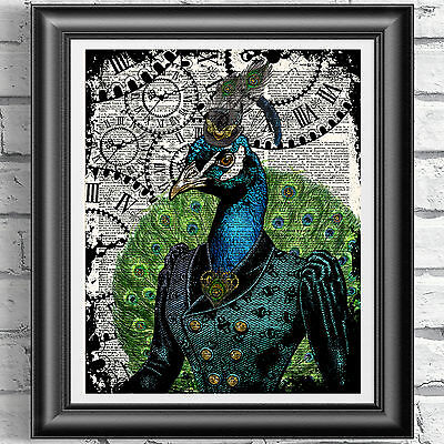 Steampunk Peacock art print on original book page Victorian Vintage dictionary