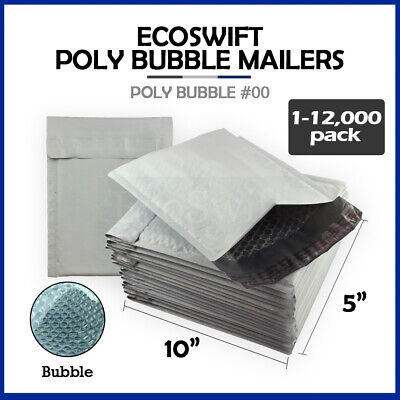 "1-12000 #00 5x10 ""EcoSwift"" Poly Bubble Mailers Padded Envelope Bags 5"" x 10"""