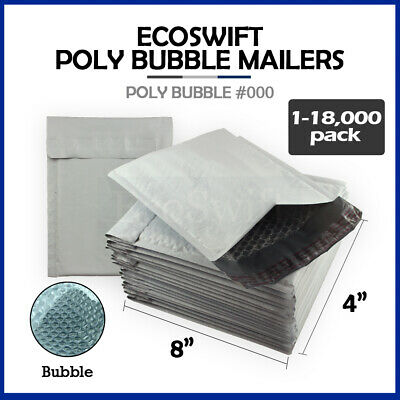 "1-18000 #000 4x8 ""EcoSwift"" Small Poly Bubble Mailers Padded Envelope Bags 4 x 8"