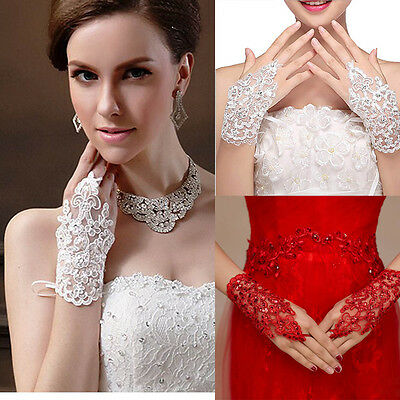 Lace Floral Rhinestone Wedding Evening Patry Prom Short Bridal Fingerless Gloves
