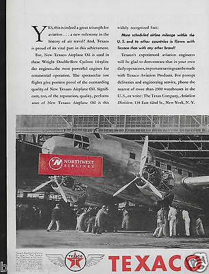 Curtiss Wright Transport C-46 36 Passenger Twin Tail 2 Pg 1940 Texaco Ad