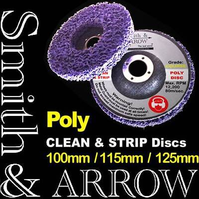 "10 x 125mm 5"" POLY STRIP DISC WHEEL PAINT RUST REMOVAL CLEAN ANGLE GRINDER FLAP"
