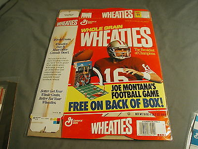 General Mills Weaties Cereal Box - Joe Montana W/ Footbal Game Free On Box 1991