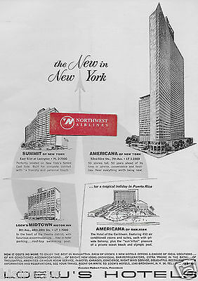 Loew's Hotels New York The New In New York 1963 Americana-Summit Midtown Ad