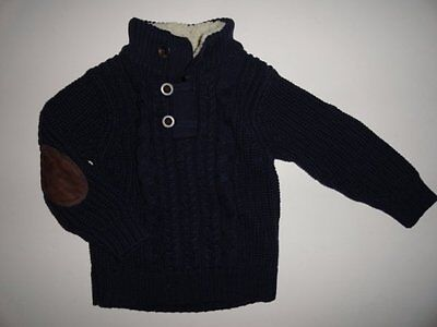 NWT Baby Gap 2T 3T Sherpa Mock Neck Cable Navy Sweater Elbow Patch New