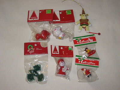 Vintage Wooden Christmas Ornament Lot of 6 New In Package