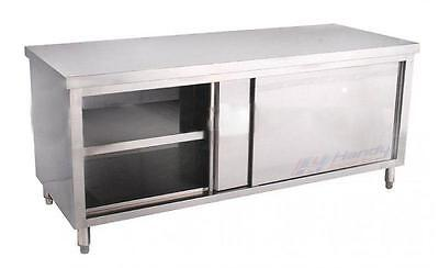 New Medium Commercial Stainless Steel Work Prep Table With Sliding Door Cabinet