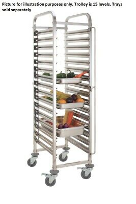 STAINLESS STEEL BAKERY GASTRONORM RACK TROLLEY BAKER BUN DOUGH 15 x GN1/1 PAN E0