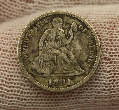 1891 SEATED LIBERTY SILVER DIME #X89 historical investment USA 10 cent $