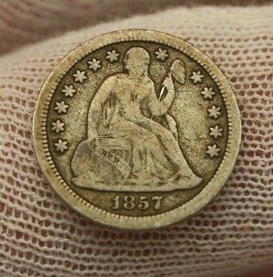 1857 SEATED LIBERTY SILVER DIME #X102 historical investment USA 10 cent $