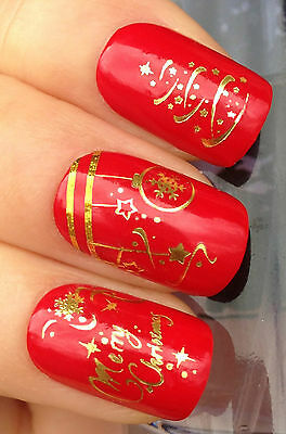 Christmas Nail Art Water Decals Transfers Stickers Gold Tree Decorations #804