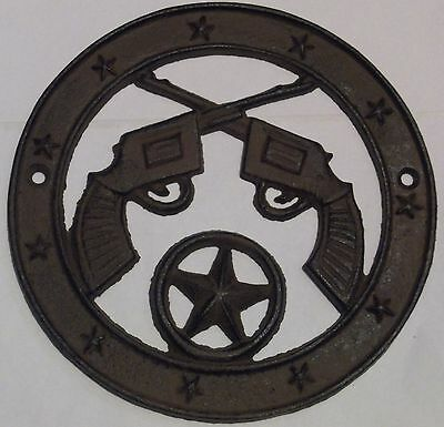 Crossed Pistols Iron Plaque * With Stars - 6 1/2 Inches Across Cast Iron