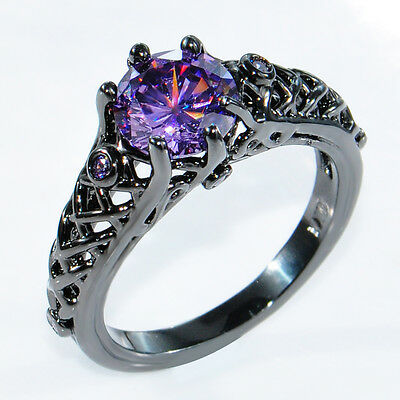 5.80/ct Purple Amethyst Engagement Ring 10KT Black Gold Filled Jewelry Size 6-10