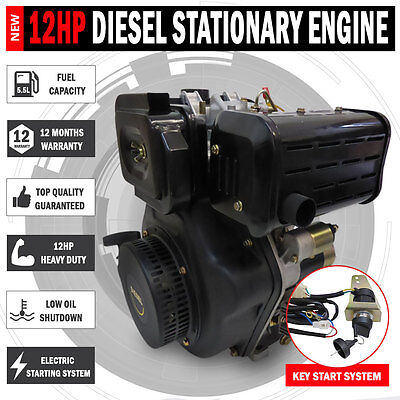 NEW 12HP Diesel Stationary Engine Electric Start OHV Shaft Recoil Replacement
