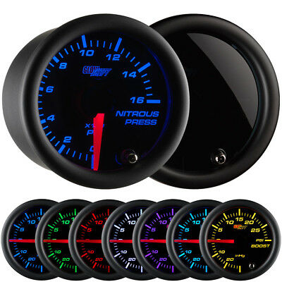 GLOWSHIFT 52mm TINTED 7 COLOR 1600 PSI NITROUS NOS PRESSURE GAUGE - GS-T714