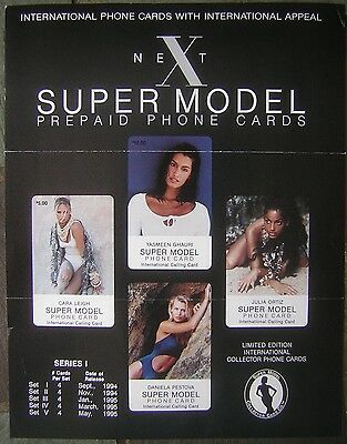 """1994 Super Model Collector Card Co. International Phone Cards 8x11"""" Mini Poster"""