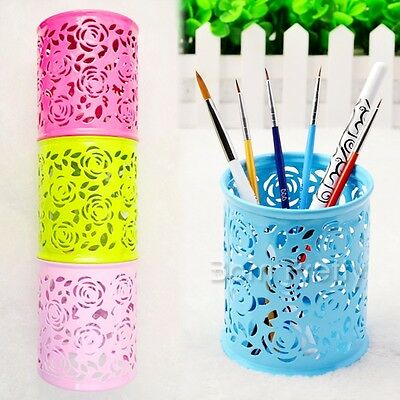 1Pc Hollow-out Nail Art Pen Brush Holder Vase Container Makeup Organizer