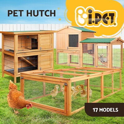 i.Pet Wooden Rabbit Hutch Chicken Coop House Cage Metal Ferret Hen Chook L XL