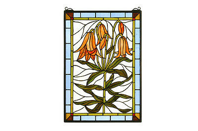"Meyda Home Decorative Lighting 16""W X 24""H Trumpet Lily Stained Glass Window"