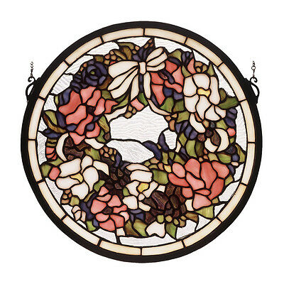 "Meyda Decorative 15""W X 15""H Wreath & Garland Medallion Stained Glass Window"