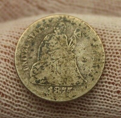 1875 SEATED LIBERTY SILVER DIME #X117 historical investment USA 10 cent $