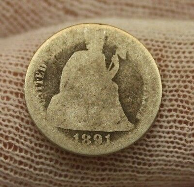 1891 SEATED LIBERTY SILVER DIME #X121 historical investment USA 10 cent $