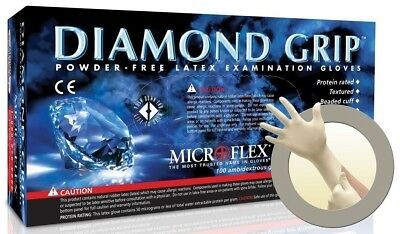 Microflex MF300L Diamond Grip Latex, Powder Free Gloves, Large, Case of 10 Boxes