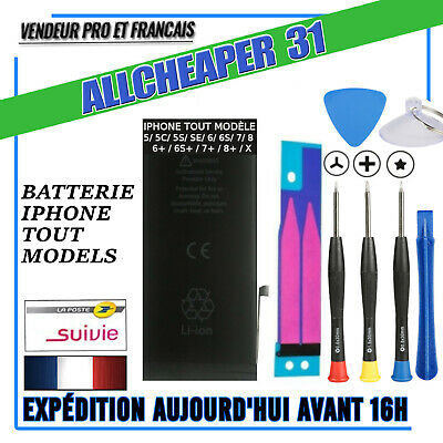 Batterie Iphone 5s 5SE 5c 5 4s 4 6 6s 7 plus 8 8plus 0 CYCLES kit outil  sticker