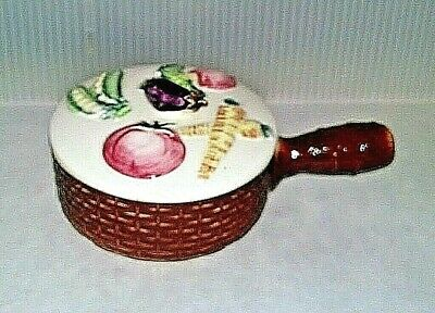 Mid Century Vintage 1950's Ucagco Ceramic Soup Bowl w. Lid & Handle Veggies A5