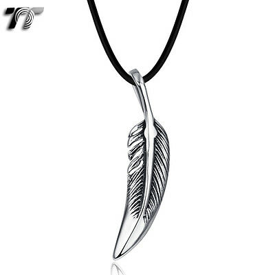 TT 316 Stainless Steel Feather Pendant Necklace (NP311) Small NEW