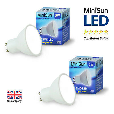 4 10 x MiniSun Branded SMD LED 5W GU10 Lamp Spot Light Spotlight Downlight Bulbs