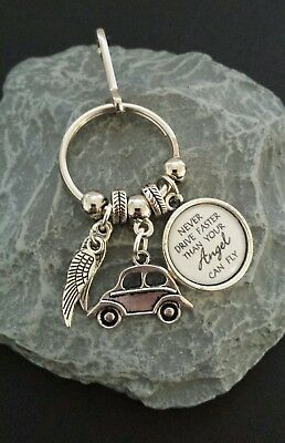 Never Drive Faster Than Your Angel can Fly Key Ring/Bag charm.