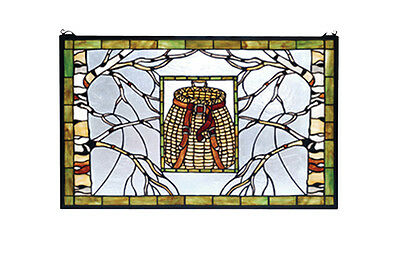 "Meyda Lighting Accessories 28""W X 18""H Pack Basket Stained Glass Window"