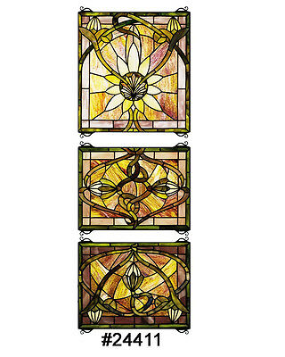 "14""Wx39""H Solstice 3 Piece Stained Glass Window"