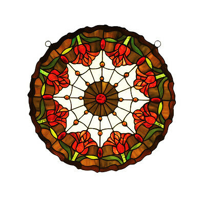 "Meyda Office Restaurant 18""Wx18""H Colonial Tulip Medallion Stained Glass Window"