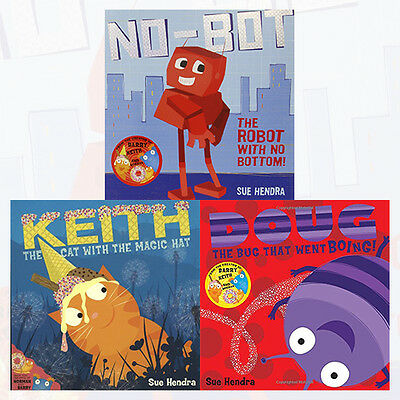 Sue Hendra Children's Books Collection 3 Books Set,No-Bot,Keith,Doug the Bug NEW
