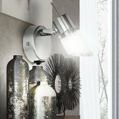 LED Wand Leuchte Schalter Nickel matt Glas Design Lampe Spot ...