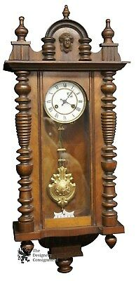 Antique Junghan German Hand Crafted Wall Clock Splindle Figural Finial Regulator