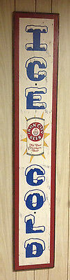 ICE COLD Iron City Beer can wood bar restaurant sign tavern pub tap draft saloon