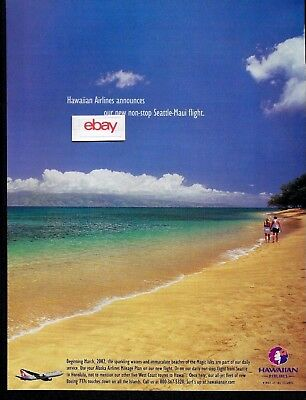 Hawaiian Airlines Announces Our New Non-Stop Seattle -Maui Flights 2002 Ad