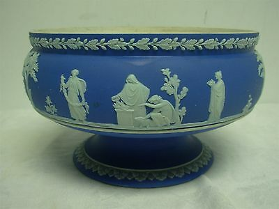 "Antique Wedgwood England Dark Blue Jasperware 8 1/4"" Footed Bowl"