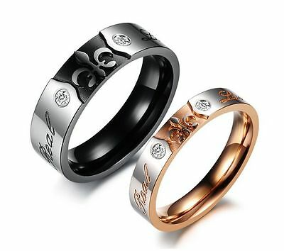 """Wedding Promise """"Real love"""" Stainless steel Silver Love Couple Rings Gift Box"""