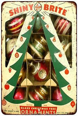 Glass Christmas Tree Ornaments Vintage Look Reproduction Metal Sign 8x12 8121856