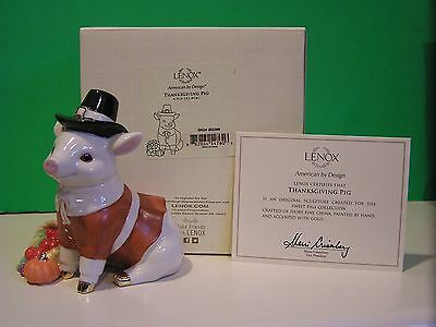 LENOX THANKSGIVING PIG sculpture NEW in BOX with COA
