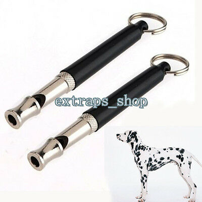 Dog Puppy Training Whistle Silent Ultrasonic Adjustable Sound Key Chain 80mm-2Pc