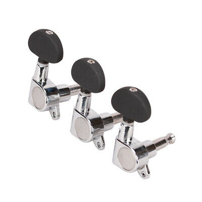 3L +3R Sealed Chrome Guitar String Tuning Pegs Machine Heads Tuners Black button