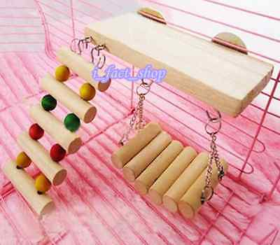 3 in 1Set Pet Wooden Toys Mouse Hamster Parrot Hanging Ladder Swing Shelf Cage I
