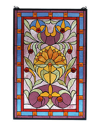 "20""W X 30""H Picadilly Stained Glass Window-Naebwg Orange Red Lt Blue Pink Amber"