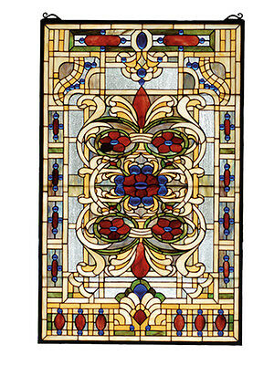 "Meyda Lighting Accessories 22""W X 35""H Estate Floral Stained Glass Window"