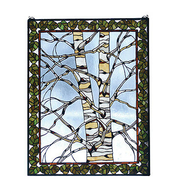 "Meyda Home Decorative 28""W X 36""H Birch Tree In Winter Stained Glass Window"
